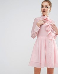 Sister Jane Bow Front Shirt Dress Pink