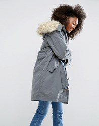 Asos Parka With Ma1 Styling And Removable Fur Liner Washed Grey Green