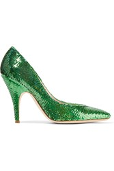Moschino Sequined Satin Pumps Green
