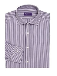 Ralph Lauren Purple Label Regular Fit Bond Striped Dress Shirt Purple White