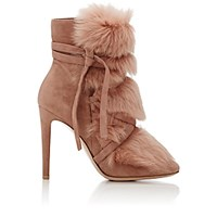 Gianvito Rossi Women's Moritz Suede And Fur Ankle Boots Pink