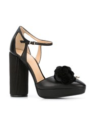 Giorgio Armani Striped Heel Platform Pumps Black