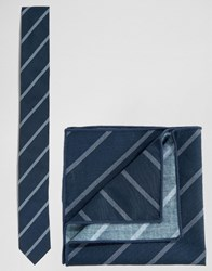 Minimum Tie And Pocket Square Set In Stripe Blue
