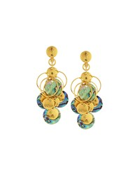 Jose And Maria Barrera Golden Abalone Disc Chandelier Earrings Women's