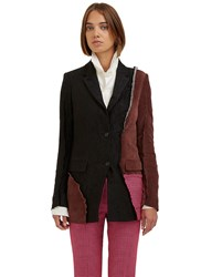 Yang Li Deconstructed Patchwork Blazer Jacket Black
