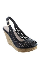 Restricted Rita Peep Toe Wedge Black