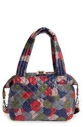 M Z Wallace Mz 'Medium Sutton' Quilted Oxford Nylon Shoulder Tote Red Leaf Print Oxford