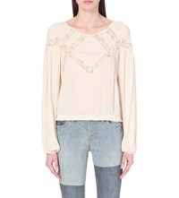 Free People Geometry Lessons Peasant Blouse Cream