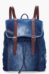 Diesel Indigo Denim Backpack For Men