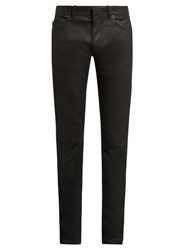 Balenciaga Skinny Fit Coated Cotton Blend Jeans Black