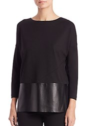 Lafayette 148 New York Ponte Faux Leather Trim Blouse Black