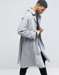 Asos Twill Trench Coat With Oversized Storm Flap Grey