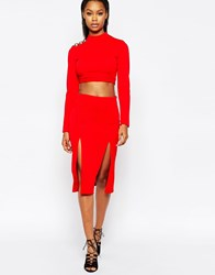 City Goddess Midi Skirt With Double Thigh Splits Red