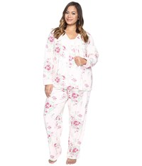 Carole Hochman Plus Size Three Piece Pajama Set Holiday Bouquet Women's Pajama Sets White