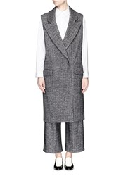 Comme Moi Herringbone Wool Blend Long Vest Grey
