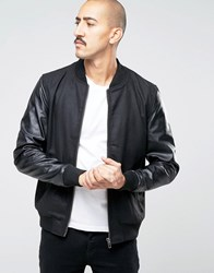 Barney's Bomber Jacket With Faux Leather Sleeves Black