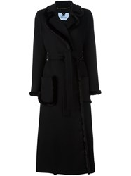Blumarine Long Belted Coat Black