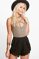 Boohoo Kay Crochet Trim Runner Shorts Black