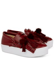 No.21 Bordeaux Fringed Tina Sneakers Burgundy