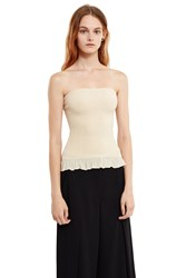 Ms Min Ruffle Hem Tube Top Cream