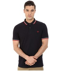Slim Fit Twin Tipped Fred Perry Polo Ozone Navy White Red Men's Short Sleeve Knit Black