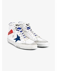 Golden Goose 2.12 Leather And Suede Hi Top Sneakers White Red Blue Golden Off White