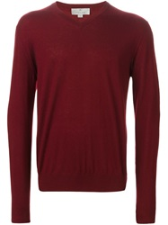 Canali V Neck Sweater Red