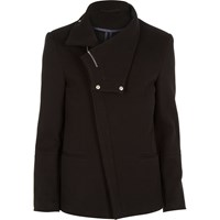 River Island Mens Black Jersey Asymmetric Cowl Neck Blazer