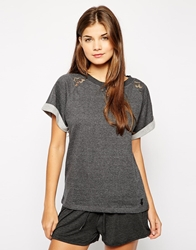 The Intimate Collection By Britney Spears Lace Insert Sweat Top Darkgrey