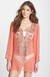 Ella Moss 'Cabana' Embroidered Cover Up Tunic Tangerine