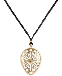 Lucky Brand Gold Tone Leather Cord Openwork Pendant Necklace