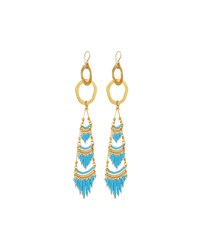 Devon Leigh Golden Textured Chandelier Earrings Turquoise