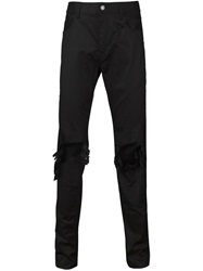 Christian Dada Ripped Skinny Trousers Black