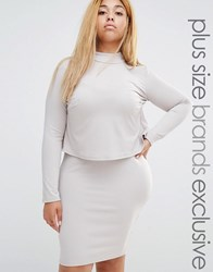 Club Lounge Plus L Long Sleeve Double Layer Dress With Split Back Beige
