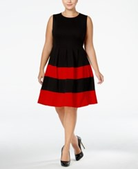 Monteau Trendy Plus Size Fit And Flare Dress Black Red