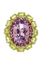Olivia Leone Sterling Silver Amethyst Rhodolite And Peridot Oval Ring Multi