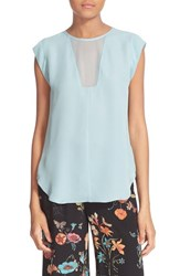Rebecca Taylor Women's 'Charlie' Sheer Inset Silk Top Soft Mint