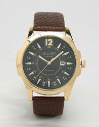 Reclaimed Vintage Brown Leather Watch With Gold Dial Brown