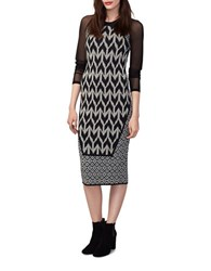 Rachel Roy Mixed Geo Fitted Dress Black Cream