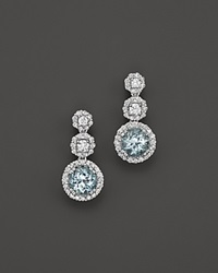 Bloomingdale's Aquamarine And Diamond Drop Earrings In 14K White Gold