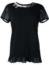 Twin Set Pearl Embellished T Shirt Black