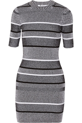 Alexander Wang Ribbed Knit Cotton Blend Mini Dress Black