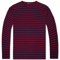 Armor Lux 1525 Long Sleeve Loctudy Tee Navy And Red