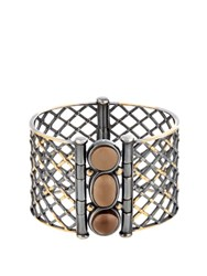 Bottega Veneta Quartz Yellow Gold And Sterling Silver Cuff Silver Multi