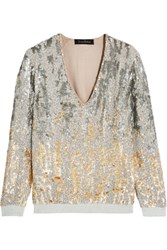 Jenny Packham Embellished Silk And Jersey Top Gold