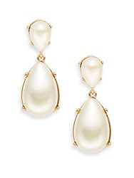 Kenneth Jay Lane Couture Collection Faux Pearl Teardrop Clip On Earrings Polished Gold