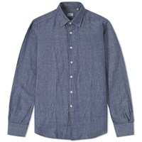 Incotex Kurt Linen Chambray Shirt Blue