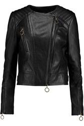 Just Cavalli Asymmetric Leather Biker Jacket Black