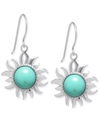 Macy's Manufactured Turquoise Sun Medallion Earrings In Sterling Silver 1 3 8 Ct. T.W. No Color