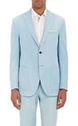 Luciano Barbera Men's Bleached Two Button Sportcoat Blue